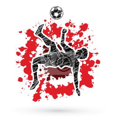 Gracz piłki nożnej salto kopnięcie, zasięrzutna kopnięcie akcja projektująca na splatter atramentu grafiki wektorze
