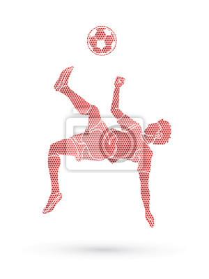 Gracz piłki nożnej salto kopnięcie, zasięrzutna kopnięcie akcja projektująca używać geometrycznego wzoru grafiki wektor