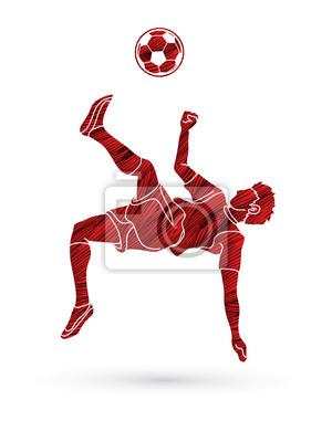 Gracz piłki nożnej salto kopnięcie, zasięrzutna kopnięcie akcja projektująca używać grunge szczotkarskiego graficznego wektor