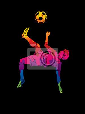 Gracz piłki nożnej salto kopnięcie, zasięrzutna kopnięcie akcja projektująca używać kolorowego graficznego wektor