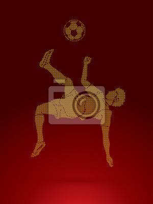 Gracz piłki nożnej salto kopnięcie, zasięrzutna kopnięcie akcja projektująca używać kropka deseniowego graficznego wektor