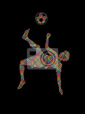 Gracz piłki nożnej salto kopnięcie, zasięrzutna kopnięcie akcja projektująca używać kropka piksli grafiki wektor
