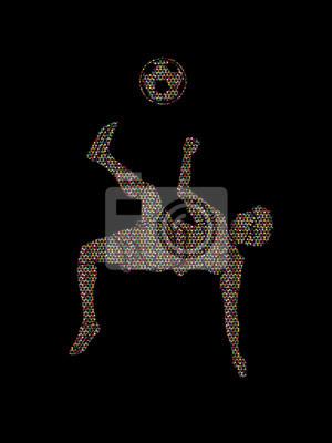 Gracz piłki nożnej salto kopnięcie, zasięrzutna kopnięcie akcja projektująca używać mozaiki graficznego wektor