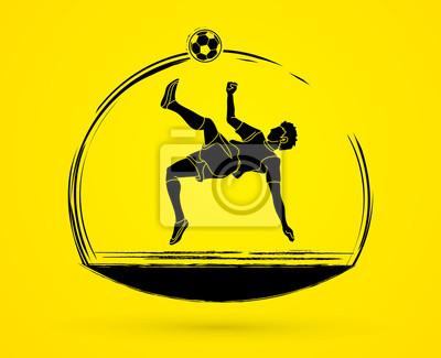 Gracz piłki nożnej salto kopnięcie, zasięrzutny kopnięcie akci grafiki wektor