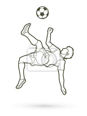 Gracz piłki nożnej salto kopnięcie, zasięrzutny kopnięcie akci konturu grafiki wektor