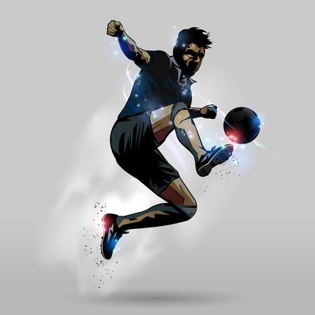 Gracz piłki nożnej w akci doskakiwania dotyka balowego projekcie