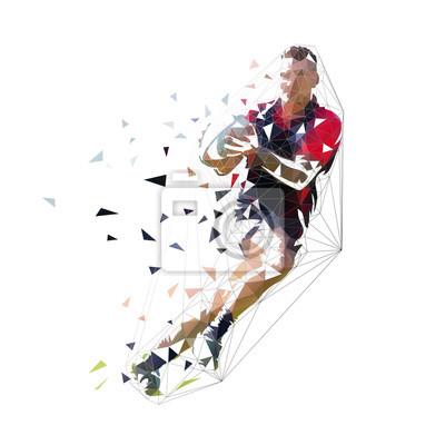 Gracz rugby działa z piłką, ilustracja na białym tle niskiej wielokąta wektor