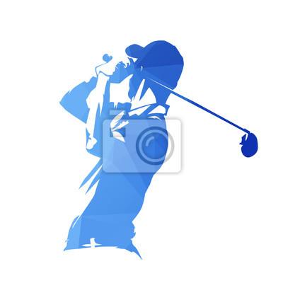 Gracz w golfa, abstrakcjonistyczna błękitna geometryczna wektorowa sylwetka