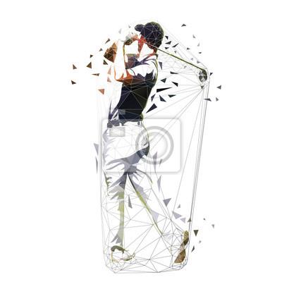Gracz w golfa, ilustracji wektorowych niskiej wielokąta. Odosobniony geometryczny golfista. Swing golfowy