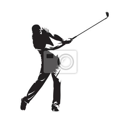 Gracz w golfa, na białym tle sylwetka wektor. Aktywni ludzie, golf swing
