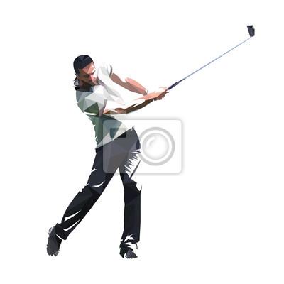 Gracz w golfa, niski poligonalny golfista, na białym tle ilustracji wektorowych. Swing golfowy
