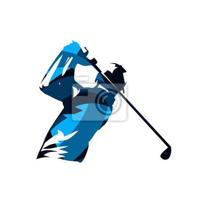 Gracz w golfa, streszczenie niebieski na białym tle sylwetka wektor. Logo huśtawki golfowej