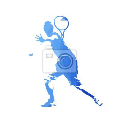 Gracz w tenisa, błękitny geometryczna wektorowa sylwetka