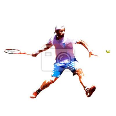 Gracz w tenisa niska poli- wektorowa ilustracja. Odosobniony dorosły mężczyzna w białej koszula i błękitnych skrótach bawić się tenisa. Indywidualny sport letni. Aktywni ludzie