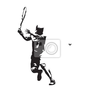 Gracz w tenisa odizolowywał wektorową sylwetkę, abstrakcjonistyczny atramentu rysunek tenisowa atleta. Forhend. Indywidualny sport letni, ludzie aktywni