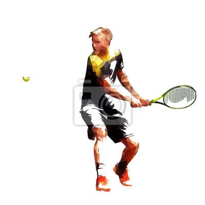 Gracz w tenisa poligonalna wektorowa ilustracja. Aktywni ludzie. Niska poli- atleta bawić się tenisa
