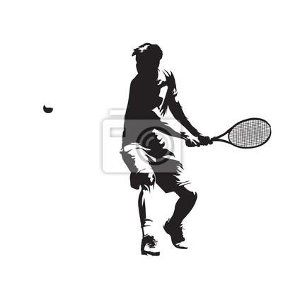 Gracz w tenisa, sylwetka odizolowane wektora. Bekhend