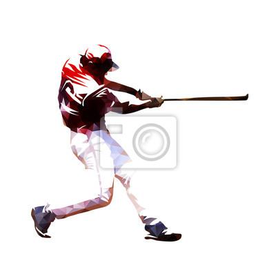 Gracza baseballa chlanie z nietoperzem, isoalted poligonalna wektorowa ilustracja