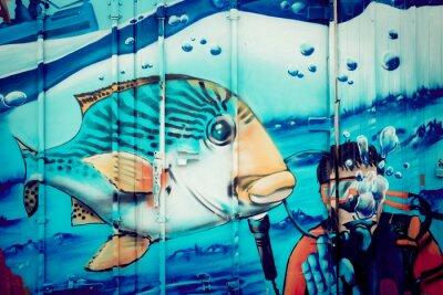 Naklejka Graffiti akwarium plongeur