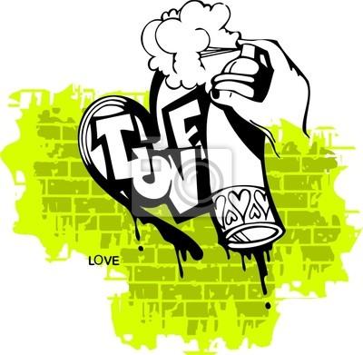 Graffiti-Love Ilustracja Heart.Vector end. Vinyl-Ready.