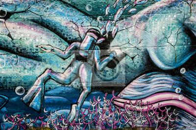 Naklejka Graffiti plongeur