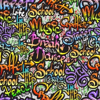 Naklejka Graffiti słowo bez szwu deseń