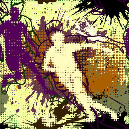 Graffiti styl wzór z mocą grunge. Streszczenie tapeta w stylu miejskim. Jasne kolorowe graffiti tło z plamami i pół tonowe elementy. Piłkarz. Gracz piłki nożnej w