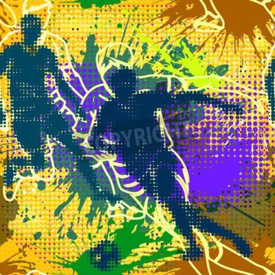 Graffiti style szwu z mocą grunge. Streszczenie wektora tapety w stylu miejskim. Jasne kolorowe graffiti tle z plamami i pół tonu elements.Football odtwarzacza. Piłkarz w