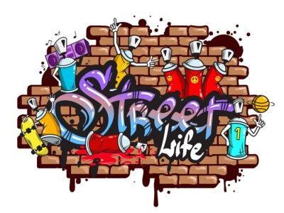 Naklejka Graffiti znaki słowne skład