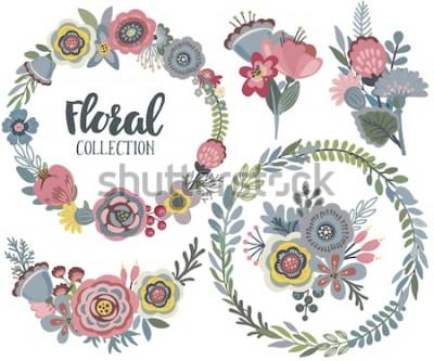 Naklejka Grafika wektorowa zestaw z pięknych kwiatów, wieniec kwiatowy, bukiety. Kolorowa kolekcja na powitanie, karty Save the Date, zaproszenia ślubne