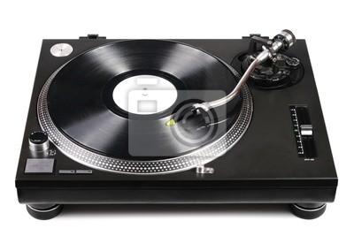gramofon dj z igłą na płycie winylowej na białym