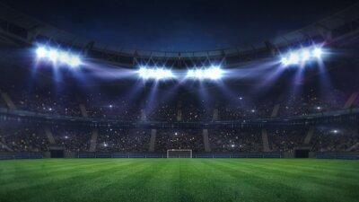 grand football stadium illuminated by spotlights and empty green grass playground, football stadium sport theme digital 3D background advertisement illustration my own design