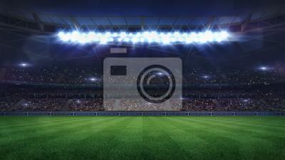 Naklejka grand football stadium middle view illuminated by spotlights and empty green grass