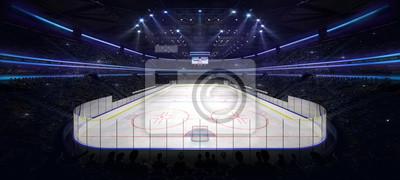 grand ice hockey arena indoor view illuminated by spotlights, hockey and skating stadium indoor 3D render illustration background, my own design
