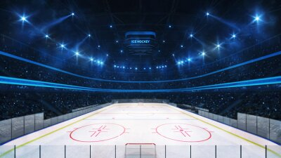 Grand ice hockey rink and illuminated indoor arena with fans, tribune view, professional ice hockey sport 3D render