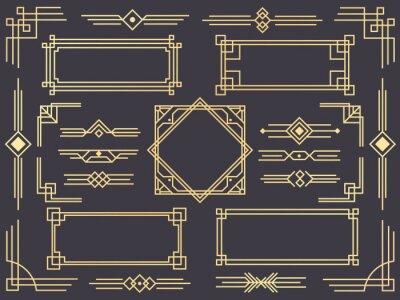Naklejka Granica linii art deco. Nowożytne arabskie złociste ramy, dekoracyjne linie granicy i geometryczni złoci etykietki ramy wektorowi projektów elementy