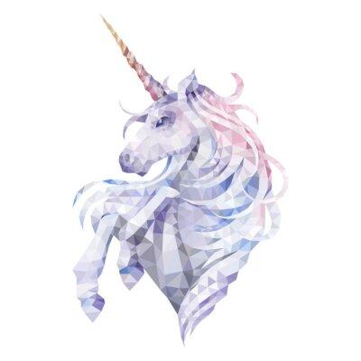 Naklejka Graphic low poly unicorn