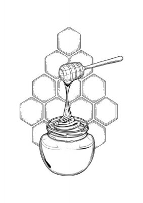 Naklejka Graphic meadow honey flowing from the stick to the bottle
