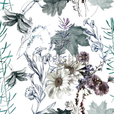 Naklejka grass flowers and leaves watercolor seamless pattern for fabrics, paper, wallpaper