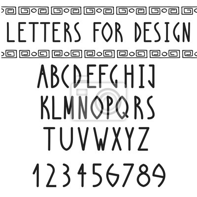 Greek Font. Roman regular english alphabet. Vector antique letters and numbers in egyptian style. Typeface design.