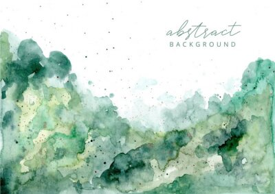 Naklejka green abstract watercolor texture background