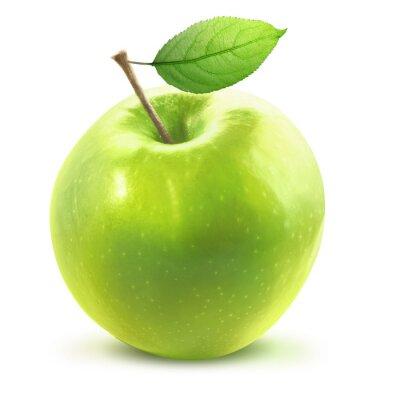 Naklejka Green Apple i leafe wyizolowany ze ścieżką