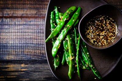 Naklejka green beans in sesame Asian sauce