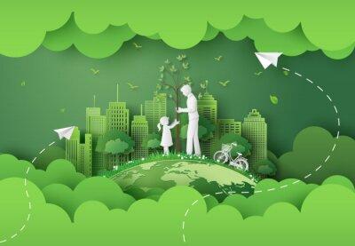Naklejka green city with family