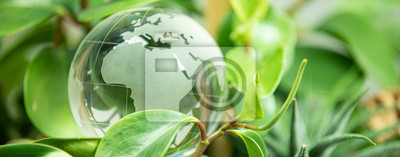 Naklejka green earth concept glass sphere