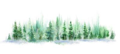 Naklejka Green landscape of foggy forest, winter hill. Wild nature, frozen, misty, taiga. watercolor background