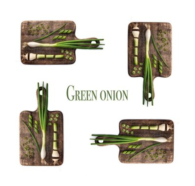 Naklejka Green onion on cutting board. Knolling concept isolated on white background with title: green onion.