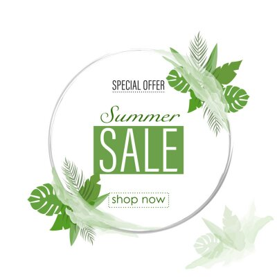 Green sale banner design background with circle frame, special offer text. Round sale banner. Vector vector.