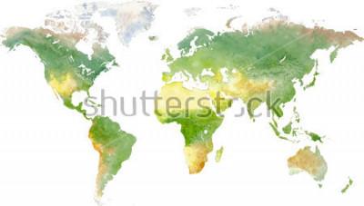 Naklejka Green vector world map in watercolor style