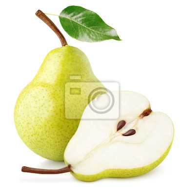 Naklejka Green yellow pear fruit with pear half and green leaf isolated on white background with clipping path. Full depth of field.